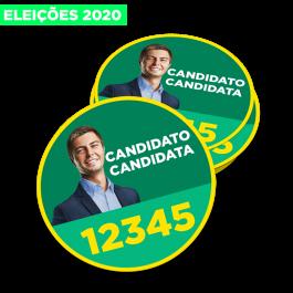 500un Bóton Eleições 2020 6x6cm Vinil Branco 6x6cm 4x0 Brilho Recorte Cód: 545966