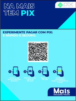 PLACA PIX pvc 1mm adesivo adigital leitoso com laminação 10x15 4x0