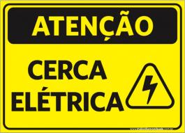 Sinalização Atenção Cerca Elétrica PVC ADESIVADO  4x0  Corte Reto Cód: 986180