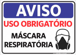 Sinalização Aviso Uso De Máscara Respiratória PVC ADESIVADO  4x0  Corte Reto Cód: 764380