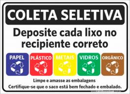 Sinalização Coleta Seletiva PVC ADESIVADO  4x0  Corte Reto Cód: 562615