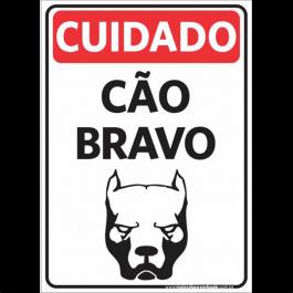 Sinalização Cuidado Cão Bravo PVC ADESIVADO  4x0  Corte Reto Cód: 621569