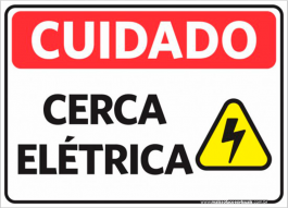 Sinalização Cuidado Cerca Elétrica PVC ADESIVADO  4x0  Corte Reto Cód: 111460