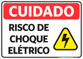 Sinalização Cuidado Risco De Choque Elétrico PVC ADESIVADO  4x0  Corte Reto Cód: 441554