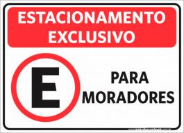 Sinalização Estacionamento Exclusivo Moradores PVC ADESIVADO  4x0  Corte Reto Cód: 082839