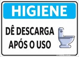 Sinalização Higiene Dê Descarga PVC ADESIVADO  4x0  Corte Reto Cód: 445154