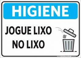 Sinalização Higiene Jogue Lixo No Lixo PVC ADESIVADO  4x0  Corte Reto Cód: 272378