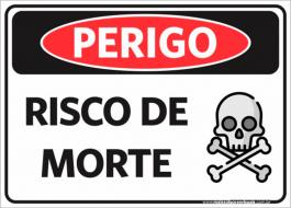 Sinalização Perigo Risco de Morte PVC ADESIVADO  4x0  Corte Reto Cód: 070250
