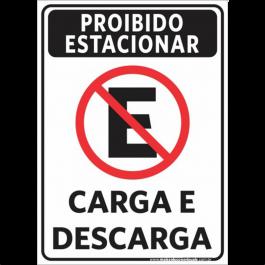 Sinalização Proibido Estacionar Carga e Descarga PVC ADESIVADO  4x0  Corte Reto Cód: 321822