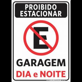 Sinalização Proibido Estacionar Garagem PVC ADESIVADO  4x0  Corte Reto Cód: 135375