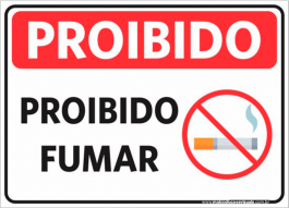 Sinalização Proibido Fumar PVC ADESIVADO  4x0  Corte Reto Cód: 027544