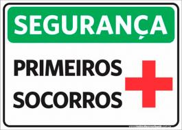 Sinalização Segurança Primeiros Socorros PVC ADESIVADO  4x0  Corte Reto Cód: 213658