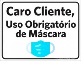 Sinalização Uso Obg. de Máscara PVC ADESIVADO  4x0  Corte Reto Cód: 060000