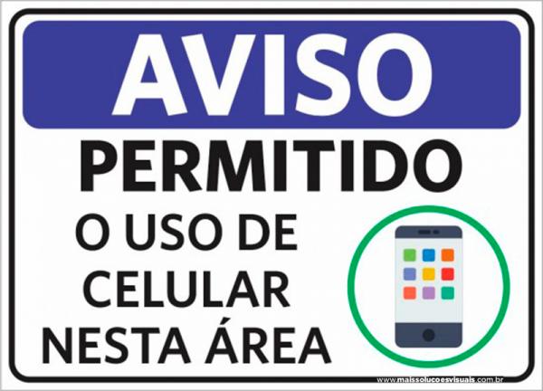 Sinalização Aviso Permitido O Uso De Celular